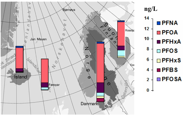 Figure 18: Spatial distribution of PFAS residues (ng/L median concentrations) in  seawater from Nordic countries.