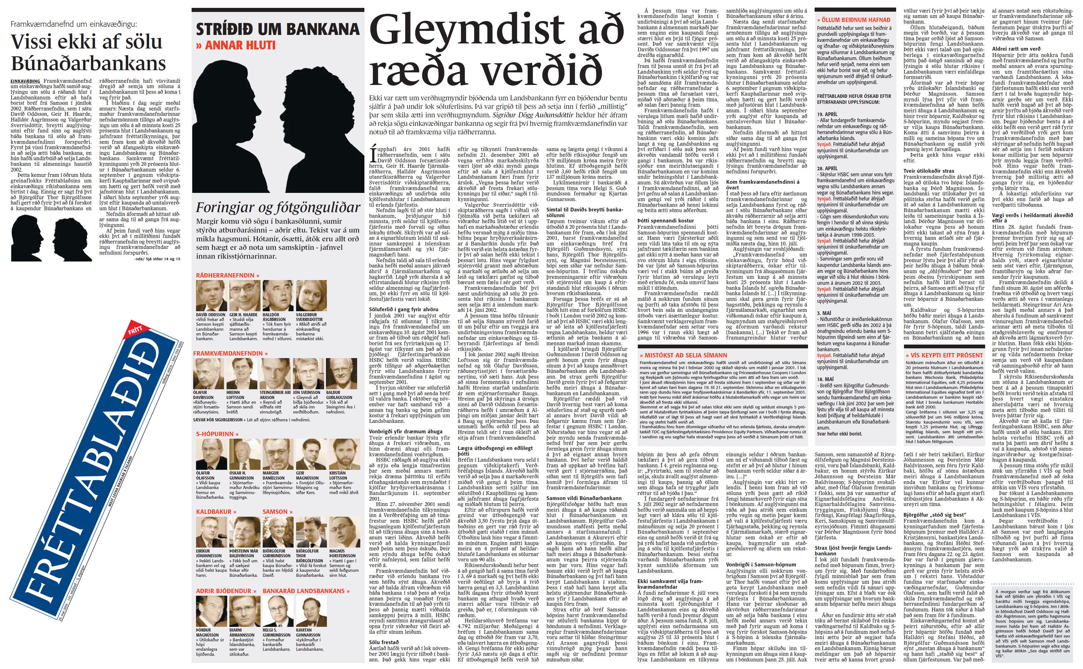 Stríðið um bankana 2:4 - Sigríður Dögg Auðunsdóttir - Fréttablaðið 29. maí 2005