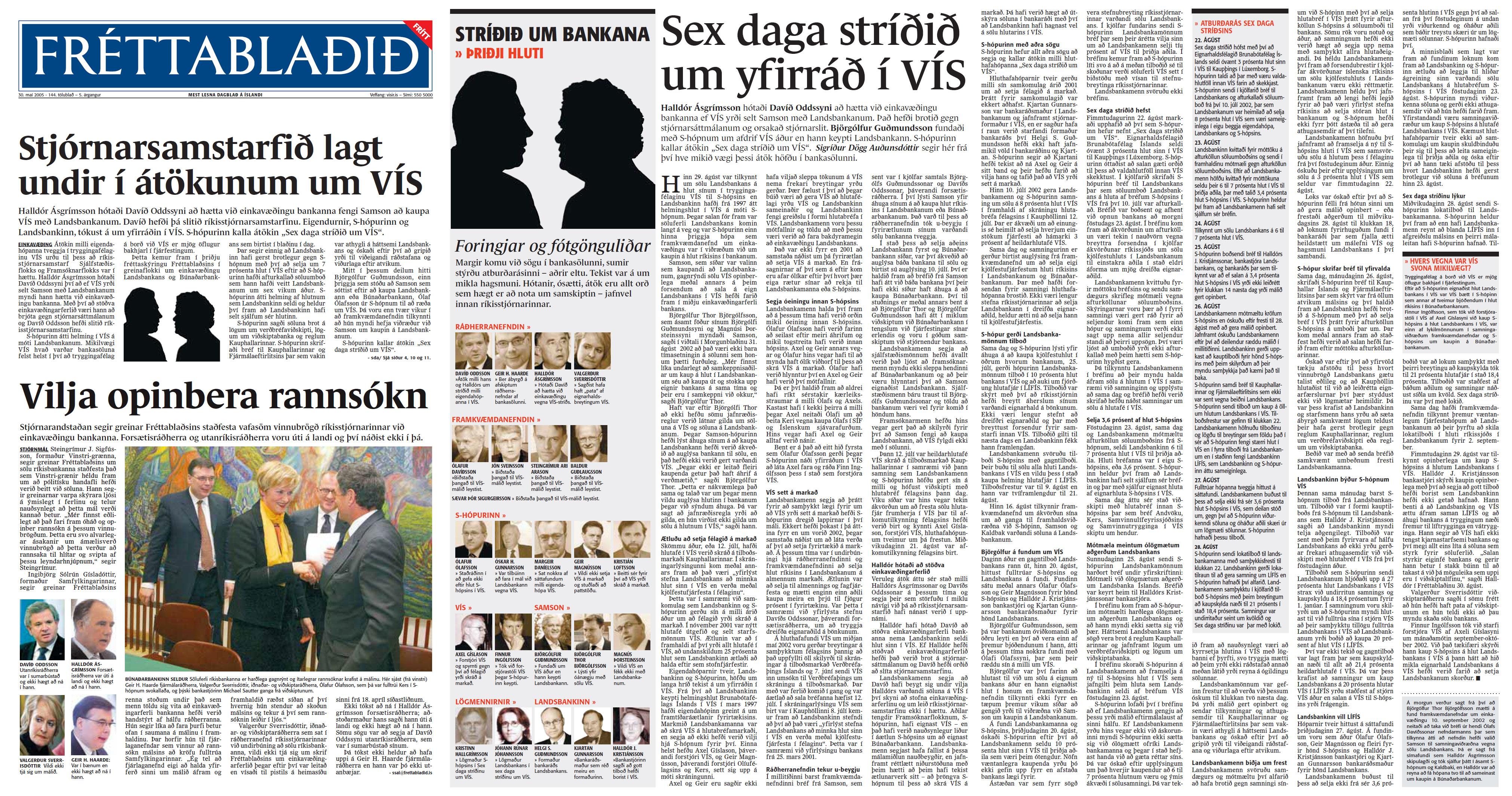 Stríðið um bankana 3:4 - Sigríður Dögg Auðunsdóttir - Fréttablaðið 30. maí 2005