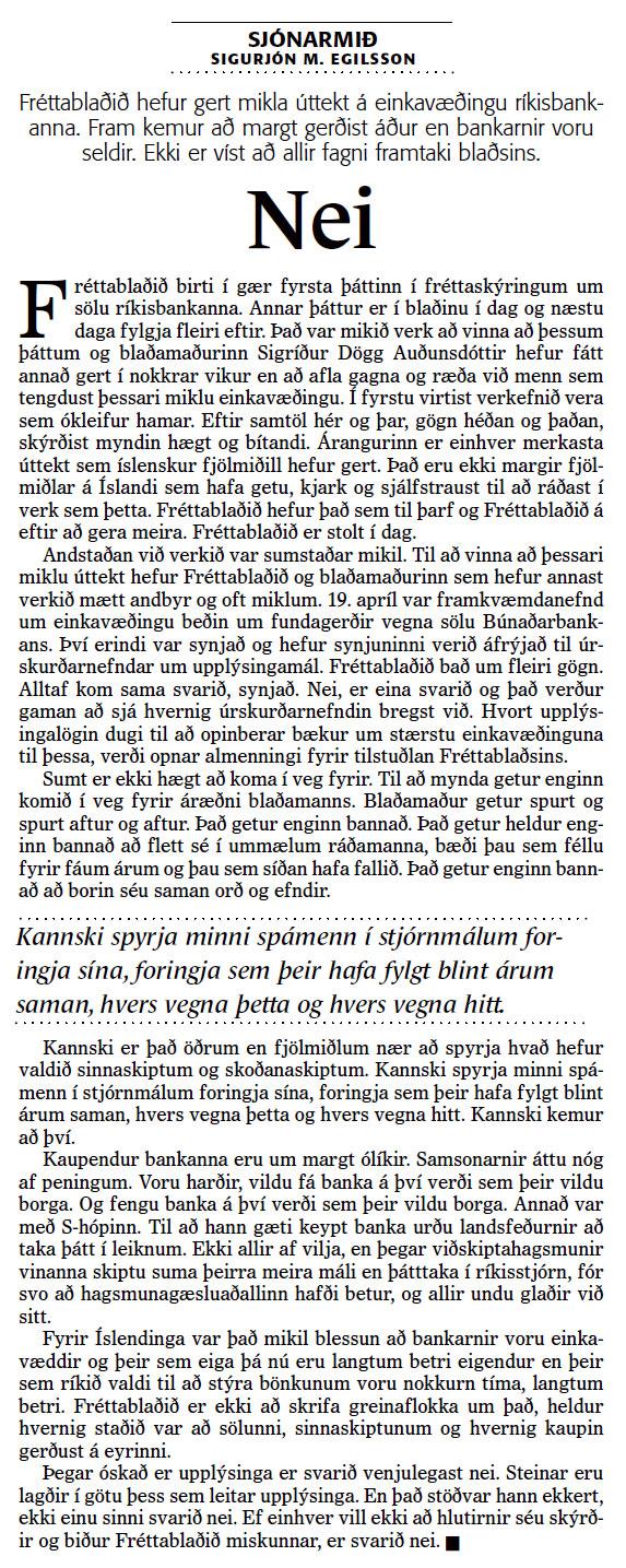 Stríðið um bankana - Sigurjón M. Egilsson - Fréttablaðið 29. maí 2005
