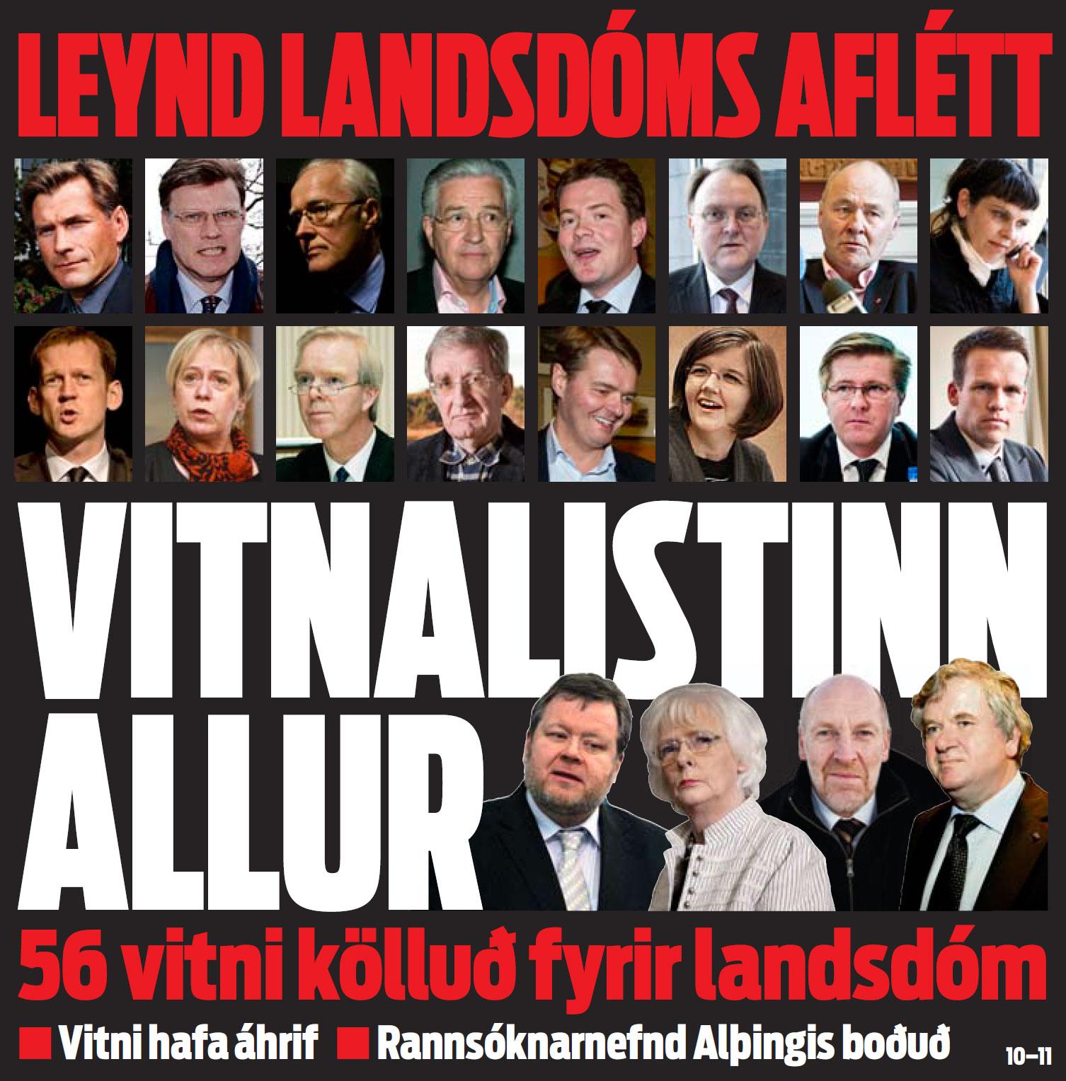 Vitnalisti Landsdóms - Forsíða DV 30. janúar 2012