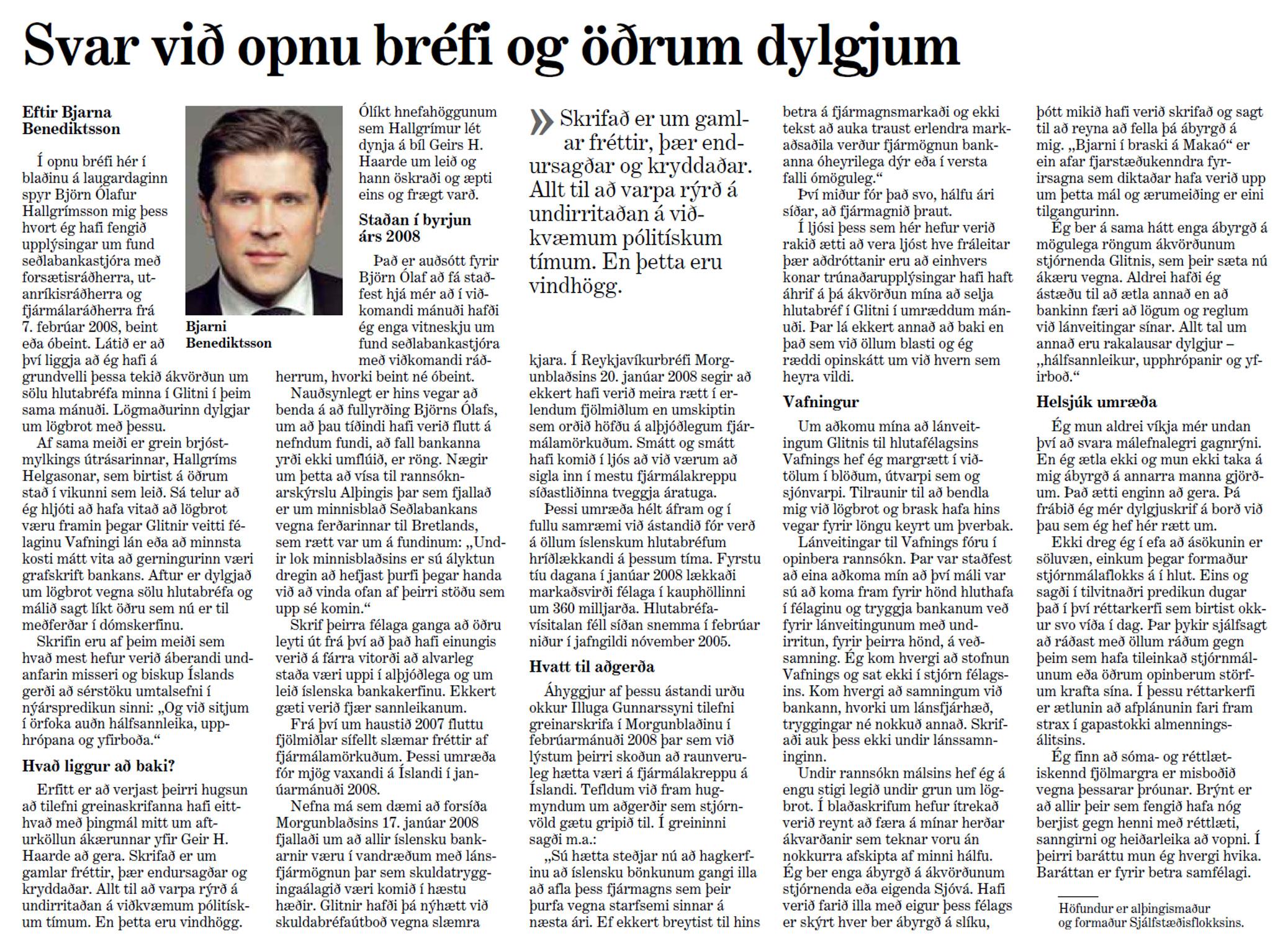 Svar við opnu bréfi og öðrum dylgjum - Bjarni Benediktsson - Morgunblaðið 30. janúar 2012